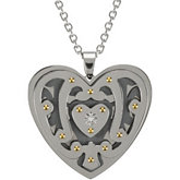 Ion Plated Heart Pendant on a 18