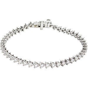 "14K White 5 CTW Diamond Line 7.25"" Bracelet"