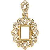 Diamond Semi-Mount Dangle Pendant or Necklace