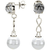 Aquarella® Freshwater Cultured Pearl & Tourmalinated Quartz Earrings