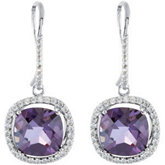 Genuine Amethyst & Diamond Earrings with Antique Cushion Center