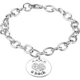 Heart U Back™ Chain Bracelet with CZ Paw Tag
