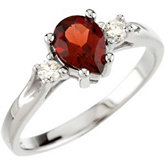 Genuine Mozambique Garnet & Diamond Ring