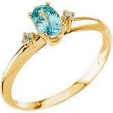 Genuine Blue Zircon & Diamond Ring