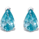 Genuine Blue Zircon Earrings