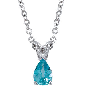 "14kt White 7x5mm Blue Zircon 18"" Necklace"