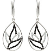 Genuine Black Spinel & Diamond Earrings
