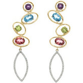 Multi-Gemstone & Diamond Earrings