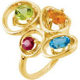 Genuine Swiss Blue Topaz, Citrine, Peridot &  Rhodolite Garnet Ring