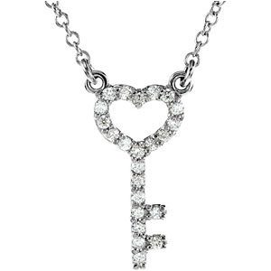 Platinum Diamond Skeleton Key Necklace