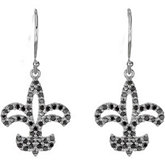 1/2 ct tw Black Diamond Fleur-de-lis Earrings