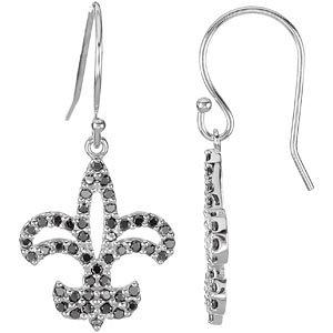 14kt White 1/  ATW Black<br> Diamond Fleur De Lis<br> Earrings