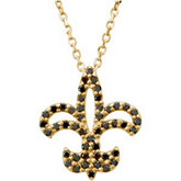 1/4 ct tw Black Diamond Fleur-de-lis Necklace