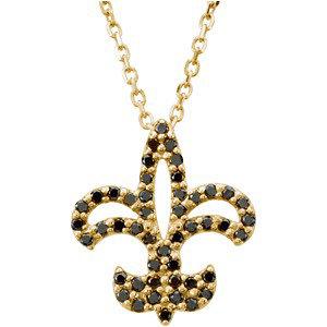 Black Diamond Fleur-de-lis Necklace