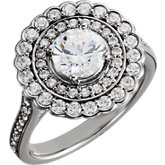 Diamond Double Halo-Styled Semi-Mount Engagement Ring or Mountiing