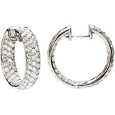 4 ct tw Diamond Inside/Outside Hoop Earrings