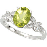 Peridot & Diamond Accented Butterfly Ring or Semi-Mount