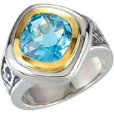 Genuine Checkerboard Skyblue Topaz Ring