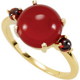 Genuine Carnelian & Mozambique Garnet Ring