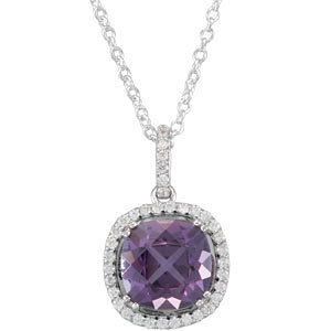 Amethyst & Diamond Pendant or Necklace