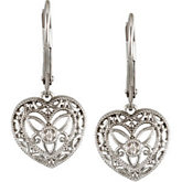 .02 ct tw Diamond Heart Lever Back Earrings