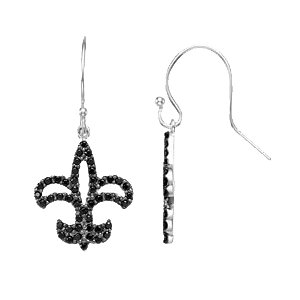 Black Spinel Fleur-de-lis Earrings
