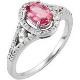 Genuine Pink Tourmaline & Diamond Ring