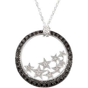 Black Spinel & Diamond Star Pendant