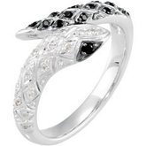 Genuine Black Spinel & Diamond Snake Ring
