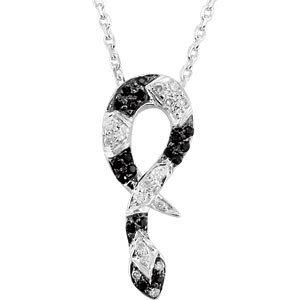 Black Spinel & Diamond Snake Pendant or Necklace
