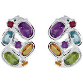 Genuine Amethyst, Citrine, Peridot, Sky Blue Topaz & Brazilian Garnet Earrings
