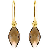 Genuine Checkerboard Smoky Quartz Earrings