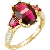 Genuine Brazilian Garnet & Diamond Ring