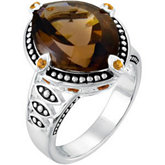 Genuine Smoky Quartz, Citrine & Madeira Citrine Ring