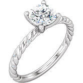 Diamond Semi-mount Rope Design Engagement Ring or Mounting
