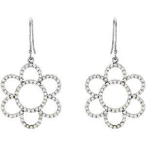 3/4 CTW Diamond Flower Earrings