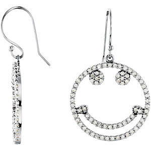 Diamond Smiley Face Earrings