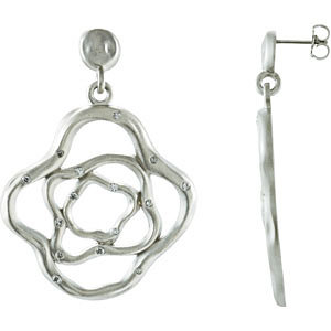 Sterling Silver & 14kt White A/  ATW Diamond Fashion Dangle Earrings