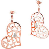 .025 ct tw Diamond Heart Earrings