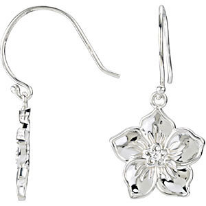 14kt White Forget Me Not Earrings