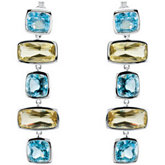 Genuine Sky Blue Topaz & Lime Quartz Earrings