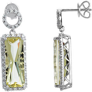 Lime Quartz & Diamond Earrings