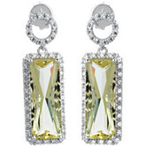 Genuine Lime Quartz & Diamond Earrings