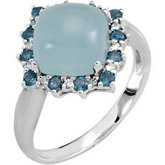 Genuine Milky Aquamarine, London Blue Topaz & Diamond Ring