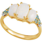 Genuine Opal, Swiss Blue Topaz & Diamond Ring