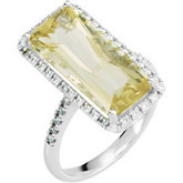 Genuine Lime Quartz & Diamond Ring