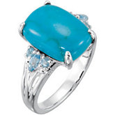 Genuine Chinese Turquoise & Swiss Topaz Ring