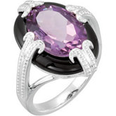 Genuine Amethyst & Onyx Ring
