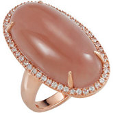 Genuine Chocolate Chalcedony & White Sapphire Ring
