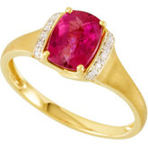 Genuine Rubellite & Diamond Ring